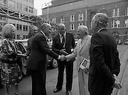 24/08/1984<br /> 08/24/1984<br /> 24 August 1984<br /> Opening of ROSC '84 at the Guinness Store House, Dublin. President Patrick Hillery and Maeve Hillery are  welcomed to the exhibition opening at the Guinness Store House by Mr Pat Murphy, ROSC Chairman  Lord Iveagh; Michael Scott and Brian Slowey, Managing Director, Guinness,Ireland.