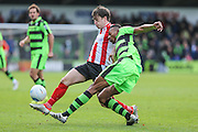 Forest Green Rovers Ethan Pinnock(16) clears away the ball during the Vanarama National League match between Forest Green Rovers and Lincoln City at the New Lawn, Forest Green, United Kingdom on 19 November 2016. Photo by Shane Healey.