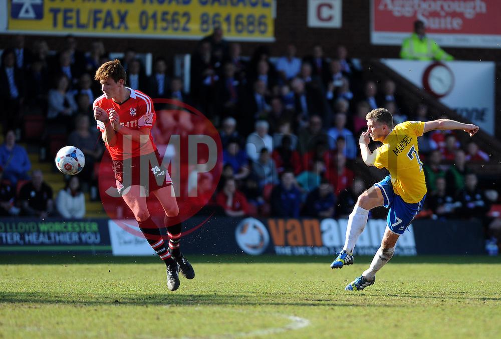 Bristol Rovers' Lee Mansell gets a shot away - Photo mandatory by-line: Neil Brookman/JMP - Mobile: 07966 386802 - 06/04/2015 - SPORT - Football - Kidderminster - Aggborough - Kidderminster v Bristol Rovers - Vanarama Football Conference