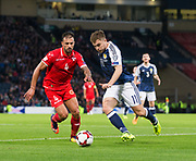 4th September 2017, Hampden Park, Glasgow, Scotland; World Cup Qualification, Group F; Scotland versus Malta; Scotland's James Forrest runs at Malta's Steve Borg