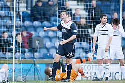Falkirk's David McCracken after Raith Rovers Dougie Hill scores an own goal for Falkirk's first goal.<br /> Raith Rovers 2 v 4 Falkirk, Scottish Championship game today at Starks Park.<br /> &copy; Michael Schofield.