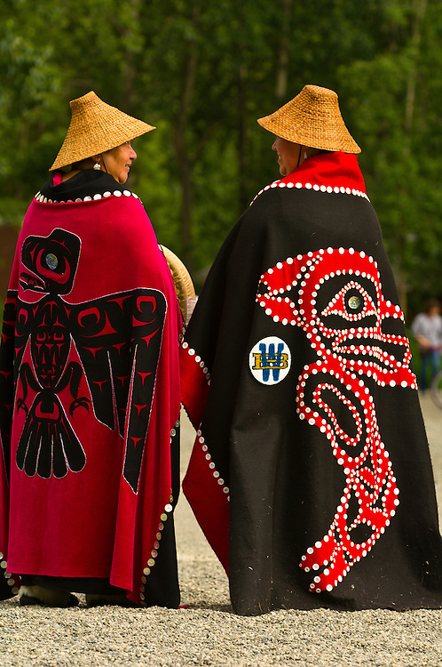 Group of Tsimshian dancers (Lepquimn Gumilgit Gagoadim) at the Alaska Native Heritage Center, Anchorage, Alaska