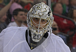 Mar 17, 2010; Newark, NJ, USA; Pittsburgh Penguins goalie Marc-Andre Fleury (29) during the second period at the Prudential Center.