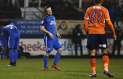 Jack Marriott of Peterborough United winches in pain after taking a knock to the foot - Mandatory by-line: Joe Dent/JMP - 09/01/2018 - FOOTBALL - Kenilworth Road - Luton, England - Luton Town v Peterborough United - Checkatrade Trophy