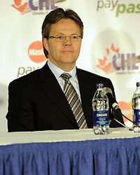 Brandon Wheat Kings' GM/coach Kelly McCrimmon at the 2010 MasterCard Memorial Cup in Brandon, MB. Photo by Aaron Bell/CHL Images