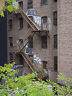 Fire escapes seen from the Highline park.