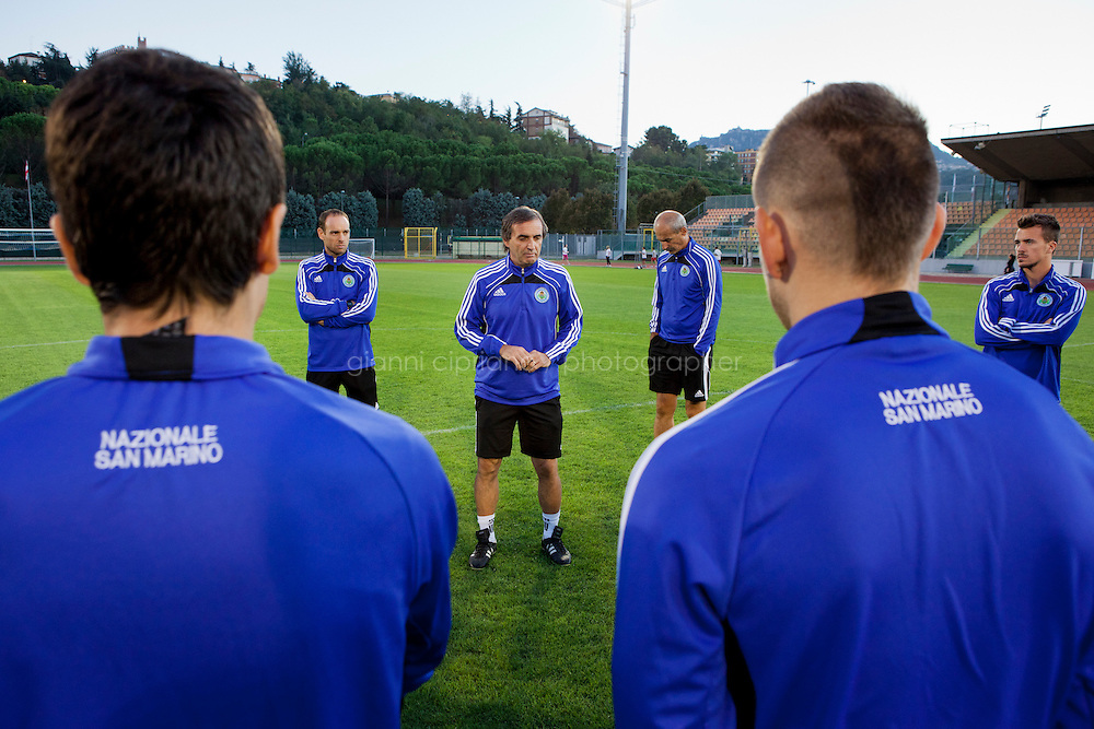 SERRAVALLE, SAN MARNO - 3 OCTOBER 2011: San Marino Coach Giampaolo Mazza, 55, talks to his player during the last training before the Euro 2012 qualification game against Moldova on October 11, in San Marino, San Marino on October 3, 2011. The San Marino national football team is the last team in the FIFA  World Ranking (position 203). San Marino, whose population reaches 30,000 people, has never won a game since the team was founded in 1988. They have only ever won one game, beating Liechtenstein 1&ndash;0 in a friendly match on 28 April 2004. The Republic of San Marino, an enclave surronded by Italy situated on the eastern side of the Apennine Moutanins, is the oldest consitutional republic of the world<br /> <br /> <br /> ph. Gianni Cipriano