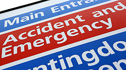 """File photo dated 21/05/13 of an Accident and Emergency sign, as an A&E doctor has complained about """"Third World conditions"""" in his hospital as leading medics warned that every emergency department in the country is struggling to cope with winter pressures."""