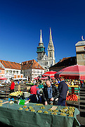 Dolac open market, with Cathedral of the Assumption of the Blessed Virgin Mary and Saint Stephen (Sveti Stjepan) in background, Zagreb, Croatia