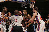 The New York Knicks and the Denver Nuggets fighting late in the 4th quarter at Madison Square Garden in Manhattan on Saturday, Dec. 16, 2006. Once the fighting started, the pushing and shoving ranged from baseline to baseline and lasted several minutes. All 10 players in the game at the time the fight started were ejected. (Andrew Gombert/The New York Times)