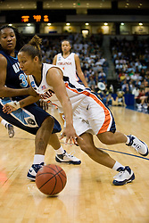 Virginia guard Sharnee Zoll (5) dribbles past Old Dominion guard Shadasia Green (35).  The #11 ranked / #5 seed Old Dominion Lady Monarchs defeated the #24 ranked / #4 seed Virginia Cavaliers 88-85 in overtime in the second round of the 2008 NCAA Women's Basketball Championship at the Ted Constant Convocation Center in Norfolk, VA on March 25, 2008.