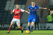 Ethan Hamilton brings the ball forward during the EFL Sky Bet League 1 match between Rochdale and Fleetwood Town at Spotland, Rochdale, England on 19 January 2019.