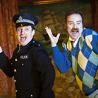 ".Picture shows : Johnny McKnight (l) and Greg Hemphill (right)...Rehearsal of the forthcoming National Theatre of Scotland production 'An Appointment with The Wicker Man'..Picture © Drew Farrell  ( Tel : 07721-735041 ).On a remote Scottish island, the Loch Parry Theatre Players mount their am-dram version of The Wicker Man. When their lead actor goes missing in mysterious circumstances, they call on the services of a television cop from the mainland to step in and save their production. ..The play opens at the MacRobert Arts Centre, Stirling on 18th February 2012 before touring Aberdeen, Glasgow, Inverness and Dunfermline...The Wicker Man regularly tops ""Best Horror Film of All Time"" lists and is regarded as a true film classic. With an unforgettable sense of creeping dread, a wonderfully memorable score by Paul Giovanni, career defining performances from Edward Woodward and Christopher Lee it also has arguably the best ending in cinema history. Now, in an affectionate new adaptation, the National Theatre of Scotland gives a gallus round of applause to this immortal chronicle of strange goings-on in a wee village. 