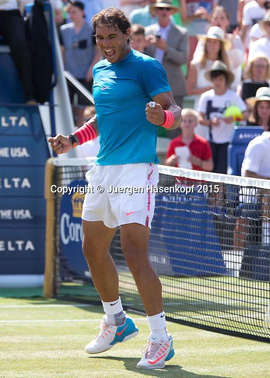 Rafael Nadal (ESP)  macht die Faust und jubelt, nach seinem Sieg,Jubel,Emotion,<br /> <br /> <br /> Tennis - Mercedes Cup - ATP -  Tennisclub Weissenhof  - Stuttgart - Baden-Wuerttemberg - Germany  - 14 June 2015. <br /> &copy; Juergen Hasenkopf