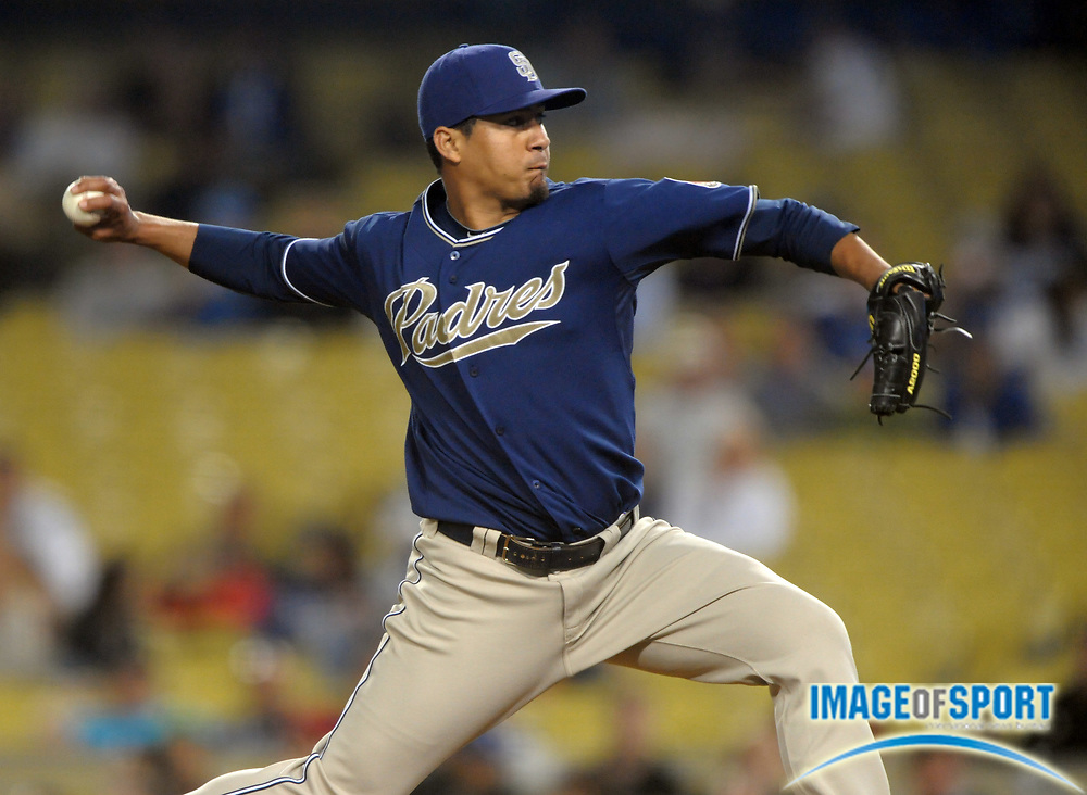Aug 2, 2010; Los Angeles, CA, USA; San Diego Padres reliever Ernesto Frieri (39) pitches in the ninth inning of the Padres' 10-5 victory over the Los Angeles Dodgers at Dodger Stadium. Photo by Image of Sport