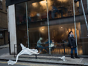 Starbucks with steamed up windows, New Oxford St.  London. 28 January 2016
