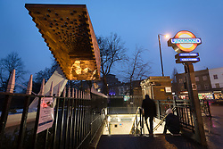 © Licensed to London News Pictures. 03/03/2018. London, UK. Photographic projections of the victims of the Bethnal Green tube disaster are projected onto the Stairway to Heaven memorial next to the Bethanal Green Tube station entrance to mark the 75th anniversary of the Bethnal Green World War 2 tube disaster on 3rd March 1943.  On the night of the disaster a crowd of people were waiting to enter the underground air raid shelter when the deafening sound of a new anti-aircraft rocket was fired for the first time from Victoria Park. A woman with a child fell and others tumbled over her and within seconds the whole staircase was a tangled mass of 300 trapped people. Tragically, 173 people died including 84 women, 62 children and 27 men. Photo credit: Vickie Flores/LNP