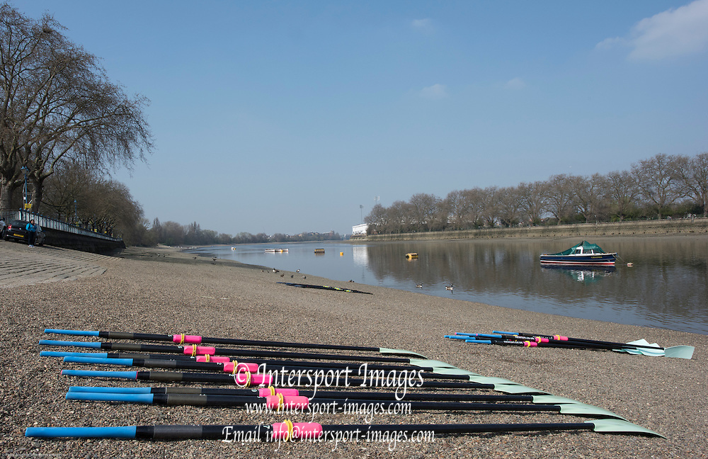 London, Great Britain, General View, Putney Hard, CUWBC Oars/Blades, on the beach.The BNY Mellon Men's Boat Race, Championship Course. Tideway Week, Putney to Mortlake. ENGLAND. <br />