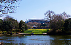 LIVERPOOL, ENGLAND - Saturday, April 14, 2018: Liverpool's Anfield stadium seen from across Stanley Park with the spring daffodils in full bloom pictured before the FA Premier League match between Liverpool FC and AFC Bournemouth at Anfield. (Pic by Laura Malkin/Propaganda)