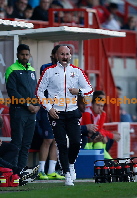 Crawley&rsquo;s assistant manager Jimmy Dack gestures to his players during the Sky Bet League 2 match between Crawley Town and York City at the Checkatrade.com Stadium in Crawley. October 31, 2015.<br /> James Boardman / Telephoto Images<br /> +44 7967 642437