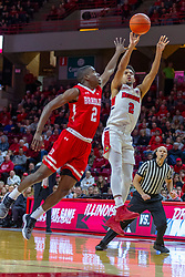 NORMAL, IL - February 16: Zach Copeland shoots a leaner to get his shot past defender LuQman Lundy during a college basketball game between the ISU Redbirds and the Bradley Braves on February 16 2019 at Redbird Arena in Normal, IL. (Photo by Alan Look)