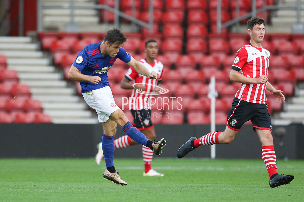 Joe Riley of Manchester United U23's  shoots at goal during the Under 23 Premier League 2 match between Southampton and Manchester United at St Mary's Stadium, Southampton, England on 22 August 2016. Photo by Phil Duncan.