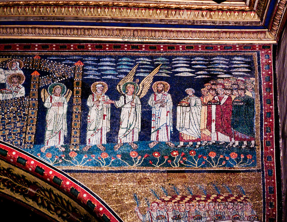 Sta Prassede, mosaic details, Pope St Paschal I ca. 822.  Panel next to apse entrance showing a procession of saints bearing crowns, escorted by two angels .