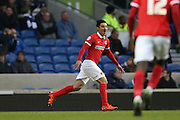 Charlton Athletic striker Reza Ghoochannejhad (16) during the Sky Bet Championship match between Brighton and Hove Albion and Charlton Athletic at the American Express Community Stadium, Brighton and Hove, England on 5 December 2015.