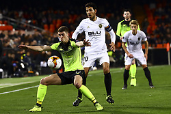 February 21, 2019 - Valencia, Spain - Ryan Christie of Celtic FC (L) and Dani Parejo of Valencia CF  during round of 32 Second leg of UEFA Europa league  match between Valencia CF vs Celtic at Mestalla Stadium on February 21, 2019. (Photo by Jose Miguel Fernandez/NurPhoto) (Credit Image: © Jose Miguel Fernandez/NurPhoto via ZUMA Press)