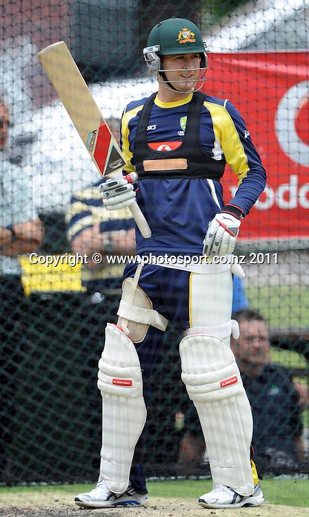 Australian Captain Michael Clarke ahead of the first cricket test in Brisbane tomorrow. Wednesday 30 November 2011. Photo: Andrew Cornaga/Photosport.co.nz