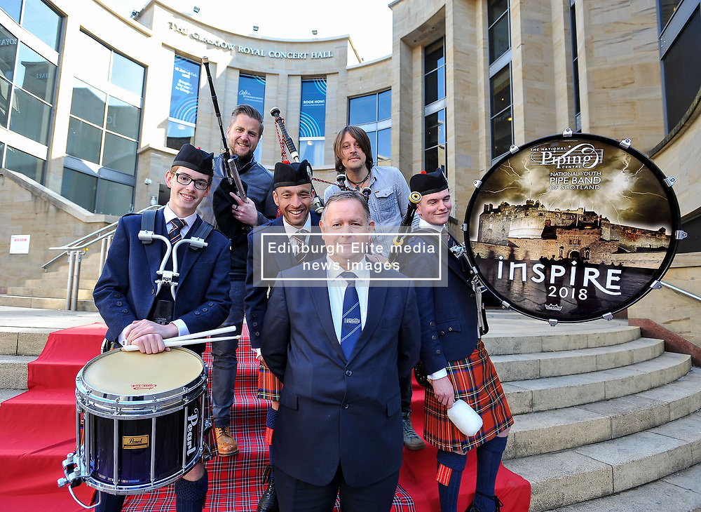 Pictured: Festival director Roddy MacLeod (front) with (left to right) Ryan Green, Finlay MacDonald, Alisdair MacLaren, Ross Ainslie and Fergus Bryce.<br /> <br /> Glasgow Police Pipe Band were on hand to make sure the launch for this years Piping Live! Glasgow Piping Festival was no quiet affair outside Glasgow Royal Concert Hall.<br /> <br /> © Dave Johnston / EEm