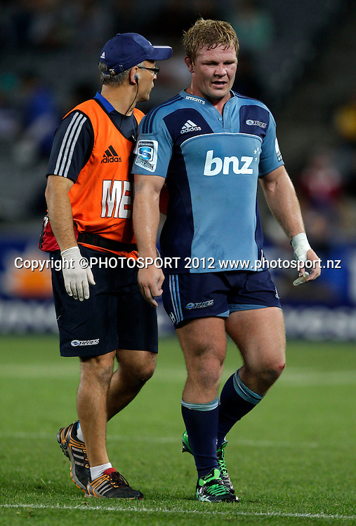 Blues Daniel Braid leaves the field during the Super Rugby game between The Blues and The Hurricanes at Eden Park, Auckland New Zealand, Friday 23 March 2012. Photo: Simon Watts / photosport.co.nz
