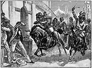 Indian Mutiny (Sepoy Mutiny) 1857-1859: Mounted rebel Sepoys charging through the streets of Delhi - May 1857. Engraving published c1895.