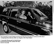 Ann Cumming & James Woods arriving in Grand Jeep Cherokee to the Beverly Hills Hotel re-Opening Party. Beverley Hills. Los Angeles. 1995. Film 95268/2<br />