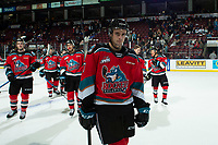 KELOWNA, BC - SEPTEMBER 28:  Carson Sass #7 of the Kelowna Rockets exits the ice after the win against the Everett Silvertips  at Prospera Place on September 28, 2019 in Kelowna, Canada. (Photo by Marissa Baecker/Shoot the Breeze)