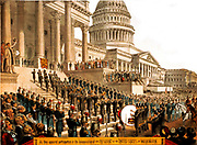 Presidential inauguration 1898. An illustration of what a typical presidential inauguration of the President of the United States of America was like during the period 1880-1910. Unknown
