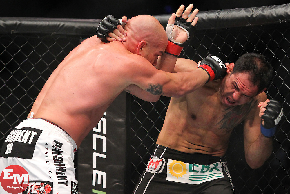 Toronto, Ontario, Canada - December 10, 2011: Tito Ortiz (white trunks) and Antonio Rogerio Nogueira (black trunks) during UFC 140 at the Air Canada Centre in Toronto, Canada.