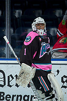 KELOWNA, CANADA - OCTOBER 21: James Porter #1 of the Kelowna Rockets stands on the ice during warm up against the Portland Winterhawks on October 21, 2017 at Prospera Place in Kelowna, British Columbia, Canada.  (Photo by Marissa Baecker/Shoot the Breeze)  *** Local Caption ***