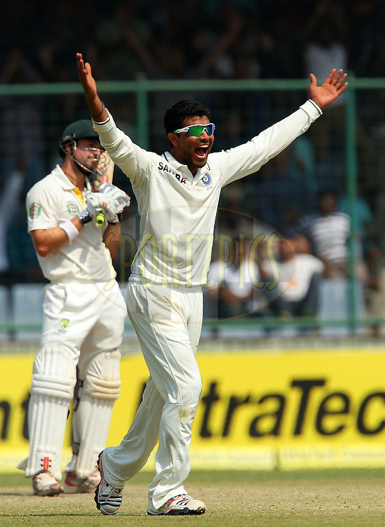 Ravindra Jadeja of India appeals for the wicket of Ed Cowan of Australia during day 3 of the 4th Test Match between India and Australia held at the Feroz Shah Kotla stadium in Delhi on the 24th March 2013..Photo by Ron Gaunt/BCCI/SPORTZPICS ..Use of this image is subject to the terms and conditions as outlined by the BCCI. These terms can be found by following this link:..http://www.sportzpics.co.za/image/I0000SoRagM2cIEc