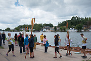Walton, Great Britain,  Walton Reach Regatta, Walton on Thames, Skiff and Punting Regatta  <br /> <br /> Saturday  19/08/2017<br /> <br /> [Mandatory Credit. Peter Spurrier/Intersport Images] River Thames .......... Summer, Sport, Sunny, Bright, Blue Skies, Skilful,