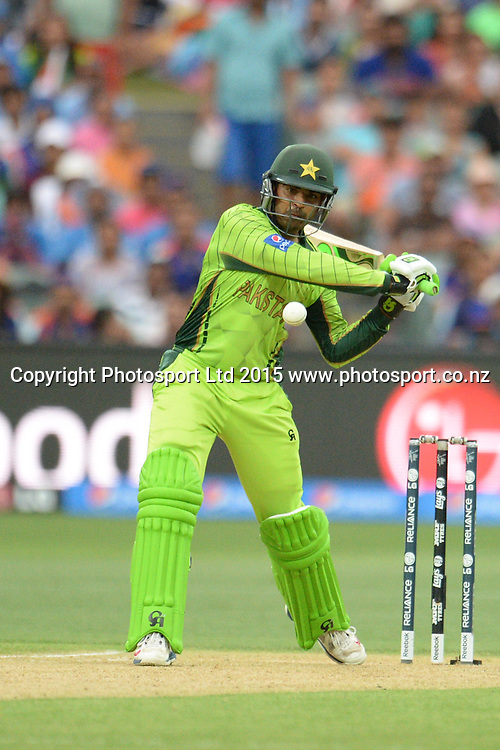 Pakistan batsman Haris Sohail in action during the ICC Cricket World Cup match between India and Pakistan at Adelaide Oval in Adelaide, Australia. Sunday 15 February 2015. Copyright Photo: Raghavan Venugopal / www.photosport.co.nz