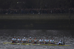March 24, 2018 - London, United Kingdom - Cambridge University Men's Boat Club and Oxford University Boat Club row during The Cancer Research UK Boat Race, London on March 24, 2018. Cambridge were victorious in both The Cancer Research UK Women's Boat Race 2018 and The Cancer Research UK Men's Boat Race 2018. (Credit Image: © Alberto Pezzali/NurPhoto via ZUMA Press)