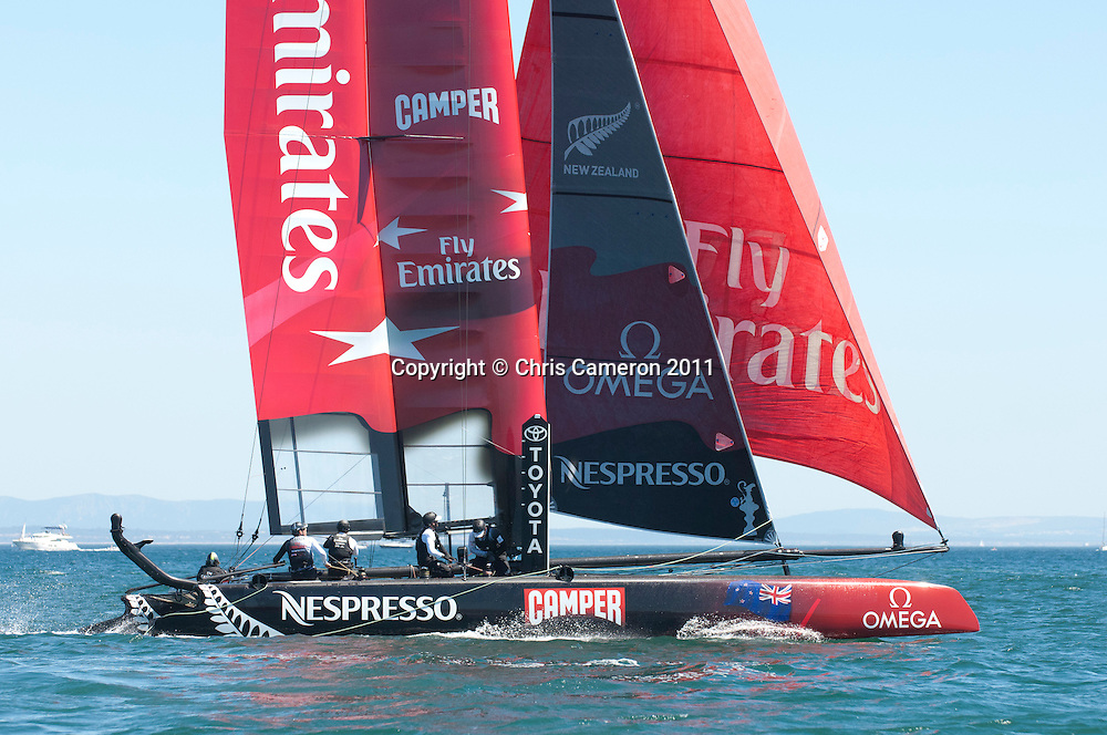 Emirates Team New Zealand in the 40 minute race of the preliminaries for the first America's Cup World Series event in Cascais. 7/8/2011