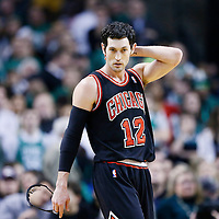 18 January 2013:  Chicago Bulls shooting guard Kirk Hinrich (12) is seen during the Chicago Bulls 100-99 overtime victory over the Boston Celtics at the TD Garden, Boston, Massachusetts, USA.
