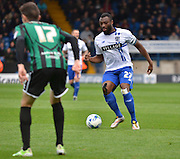 Bury Defender Nathan Cameron looks for the pass across midfield during the Sky Bet League 1 match between Bury and Rochdale at Gigg Lane, Bury, England on 17 October 2015. Photo by Mark Pollitt.