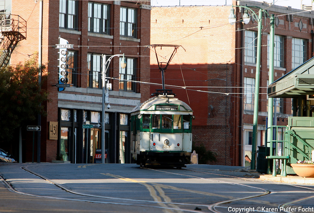 Trolley runs on South Main in downtown Memphis, Tennessee. (photo by Karen Pulfer Focht)