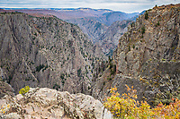 Looking down into the Black Canyon from the Rim Rock Trail along the South Rim.  Black Canyon of the Gunnison National Park, Colorado.