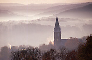 Autumn Mountain Early AM Fog, Church Steeple, Brookville, Jefferson County,  PA