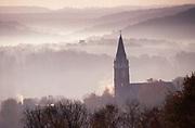 Autumn Mountain Early AM Fog, Church Steeple, Brookville, Jefferson County,  PA