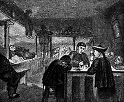 Opium den in the Chinese quarter of San Francisco. Wood engraving c1870.